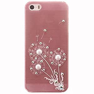 SHOUJIKE Dandelion Pattern Design with Diamonds and Pearls PC Hard Case for iPhone 5/5S
