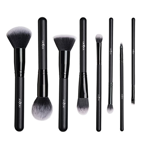 Black Powder Brush - Makeup Brushes Set, Anjou 8 Pieces Synthetic Makeup Brushes For All Look, Foundation Blush Face Concealer Eyeliner Shadow Cosmetics Brush Set, Waterproof Cosmetic Bag Included
