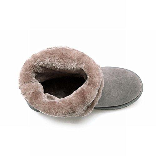 Mee Shoes Damen runde Nubukleder halbschaft runde Schneestiefel Grau