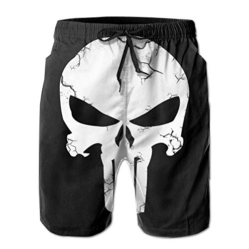 Punisher Skull Mens Swim Trunks Summer Quick Dry Board Shorts Elastic Waist Swimwear Bathing Suit with Mesh Lining/Side Pockets White -