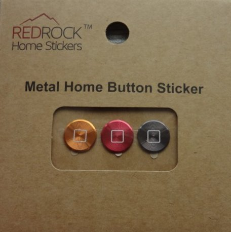 Classic Square Gold Red Gray 3 Pieces Aluminum Metal Home Button Stickers for iPhone 5 4/4s 3GS 3G, iPad 2, iPad Mini, iPod Touch