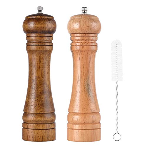 (Salt and Pepper Grinder Set and Pepper Mills Shakers with Cleaning Brush, Wood Pepper Mills, Shaker with Ceramic Core- 8 Inches Pack of 2)