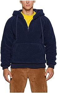 Fashion Sherpa Hooded Sweater for Men, Unisex Long Sleeve 1/4 Zip Drawstring Fuzzy Pullover Hoodie Sweatshirts