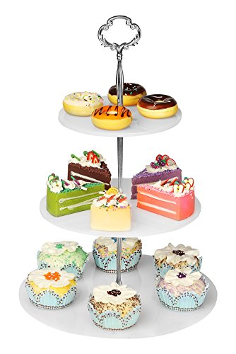 3 Tier Plate Stand (YestBuy 3 Tier Round White Acrylic Handle Cupcake Stand)