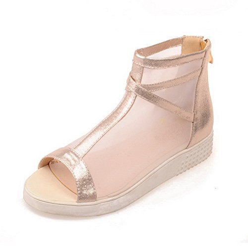 AllhqFashion Womens MeshLegging Solid Zipper Open Toe Low-Heels Wedges-Sandals Gold Ipj0g