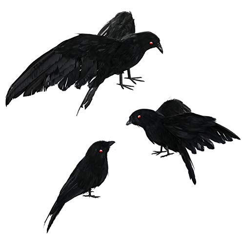 3 Pack Halloween Realistic Red Eyes Handmade Crow Prop Black Feathered Crow Fly and Stand Crows Ravens for Outdoors and Indoors Crow ()