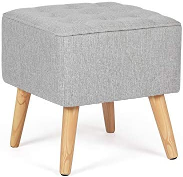 Adeco Button Tufted Cushioned Nordic Ottoman Stool, 16x16x16 Gray