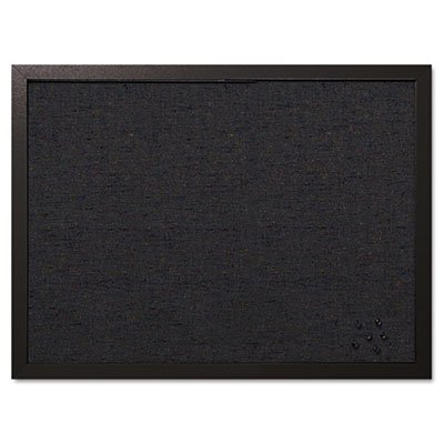 MasterVision Designer Fabric Bulletin Board, 24X18, Black Fabric/Black Frame, Sold as 1 Each