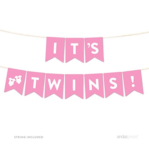 Andaz Press Girl Baby Shower Hanging Pennant Garland Party Banner with String, Pink, It's Twins!, 5-feet, (Twin Baby Shower)