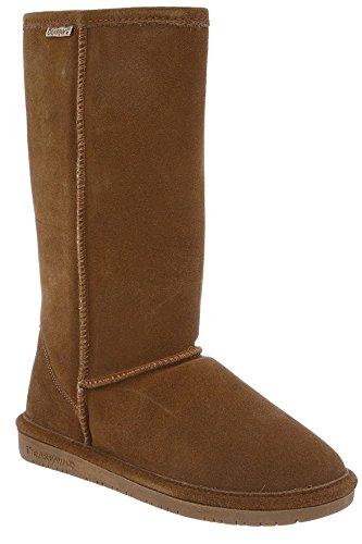 Bearpaw Womens Emma Tall 12-Inch Suede Sheepskin Boot, Hickory, US 6 (Sheepskin Suede Womens Wedge)