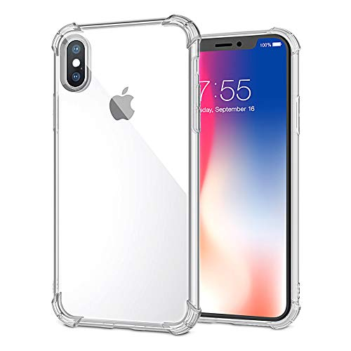 Xawy Phone Case Compatible with iPhone Xs iPhone X Case, Slim Clear Soft TPU Cover Crystal Clear Cases Non-Slip [Support Wireless Charging]