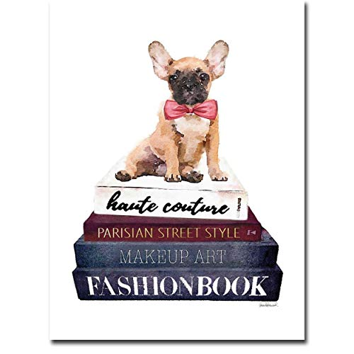 Artistic Home Gallery Book Stack Frenchie by Amanda Greenwood Gallery Wrapped Canvas Giclee ()