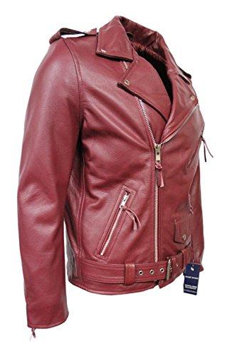 BRANDO Cherry Red Veste en cuir pour Homme Classic Design Moto Motard