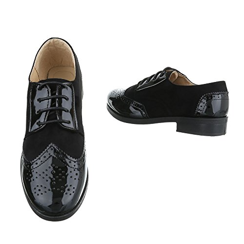 Ital-Design - Zapatos Planos con Cordones Mujer negro