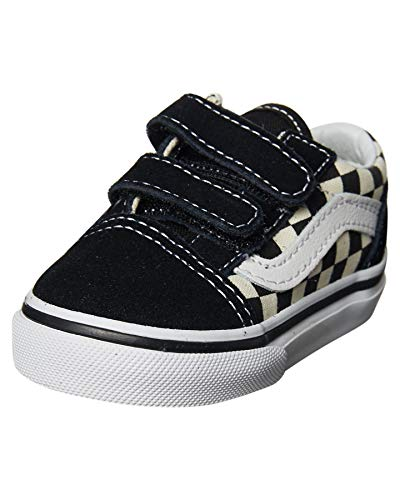 Vans Toddler Old Skool V (Primary Check) Black/White VN0A38JNP0S Toddler Size 8]()