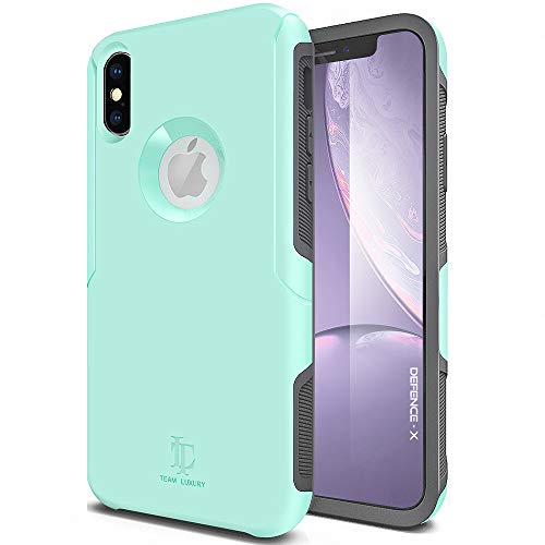 Yellow Gold Dora - TEAM LUXURY iPhone X Case/iPhone Xs Case, [Defense-x Series] Dura Layer Shock Absorbing Technology Protective Phone Case - for Apple iPhone X/Xs 5.8 Inch Updated (Mint/Gray)