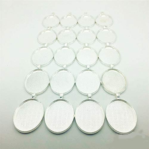 IGOGO 20 PCS Oval Pendant Trays Pendant Blanks Cameo Bezel Cabochon Settings - 30x40 mm Silver Color by IGOGO