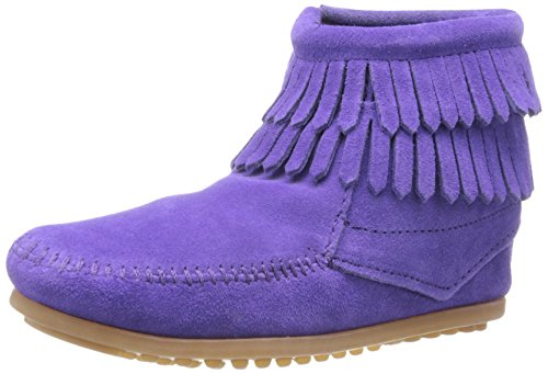 Minnetonka Double Fringe Side Zip Boot (Toddler/Little Kid/Big Kid),Purple,10 M US Little - Kids Minnetonka