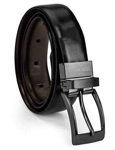 Steve Madden Boys' Big Reversible Belt for Kids, black/brown, - Kids Dress Reversible