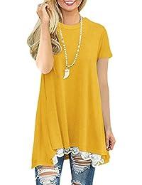 58e6217c05a Womens Plus Size Short Sleeve A-Line Flowy Tunic Tops Lace Trim Shirt Blouse