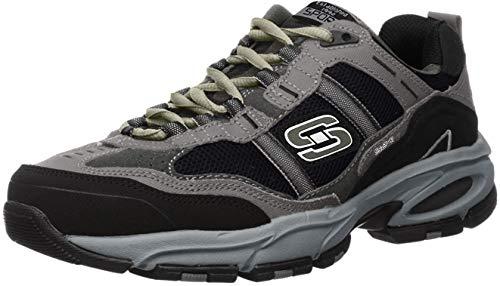 Skechers Sport Men's Vigor 2.0 Trait Memory Foam Sneaker, Charcoal/Black, 10.5 XW US