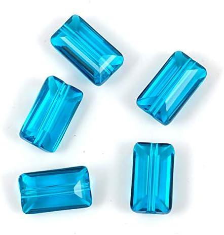 Adabele österreichische rechteckige Kristallperlen, kompatibel mit Swarovski-Kristallen, für Ohrringe, Armbänder, Halsketten, Anhänger, Schmuck, Basteln 14x8mm capri blue