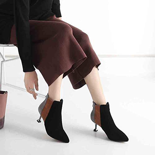 Chaussures Coupon Stiletto Vouchers Pour De Bout Femme 2018 Noir Scrubs Couleurs Femmes Automne Chaussure Hiver Mode Chic Mélangées Bottines Pointu Nouveau 8wzYOqA