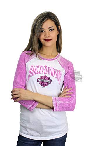 Harley-Davidson Womens Name Flight B&S Burnout Wash Thermal Sleeves Pink 3/4 Sleeve T-Shirt (Medium)