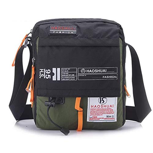 JAKAGO Waterproof Messenger Bag Shoulder Crossbody Bag Mobile Phone Pouch Passport Holder Mens Purse Bag 10.1 inch Tablet Bag Work Field Bag for Travel Hiking Camping Outdoor Sport (Green)