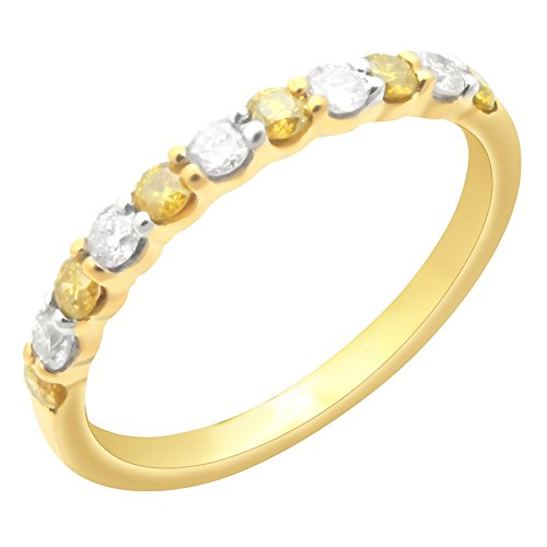 Prism Jewel 0.50Ct Prong Set Yellow Diamond & Natural Diamond Wedding Band, Yellow Gold Plated Silver, Size 5 by Prism Jewel