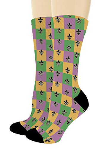 Mardi Gras Outfit Accessory Mardi Gras Fleur-de-lis Socks Mardi Gras Gift 1-Pair Novelty Crew Socks]()