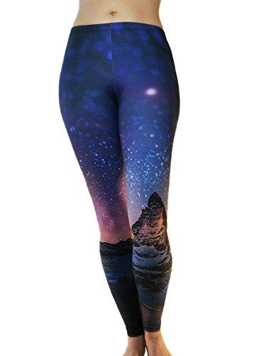 Comfy Yoga Pants - Dry Fit - Slimming Mid Rise Cut - Printed Yoga Leggings (Cosmic Peace), One Size (Christmas Cosmic Yoga)