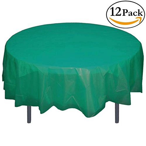 12-Pack Premium Plastic Tablecloth 84in. Round Table Cover - Teal