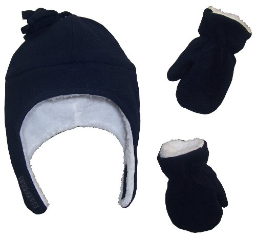 N'Ice Caps Boys Sherpa Lined Micro Fleece Pilot Hat and Mitten Set (2-3 Years, Black)