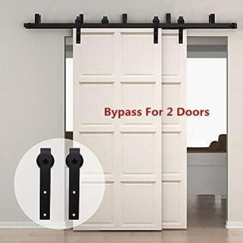 304cm(10FT) Kit de guía para puerta corredera Bypass Ferretería Polea de Rail suspendida sistema de puerta interiores en madera granero armario cuarto de, negro: Amazon.es: Bricolaje y herramientas