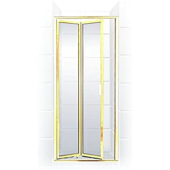 paragon series double hinge bifold bifold 24 in w x 70 in h shower door gold clear coastal shower doors