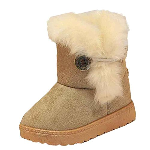 Infant/Toddler Baby Girls Lightweight Outdoor Warm Adorable Snow Boots Winter Child Crib Shoes (12-18M, Khaki)