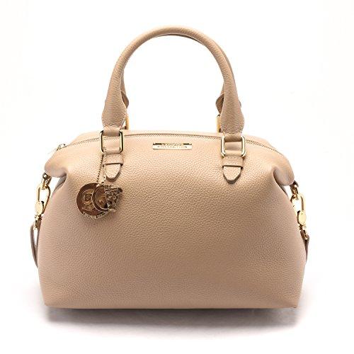 Versace-Collections-Women-Pebbled-Leather-Top-Handle-Shoulder-Handbag-Satchel-Tan
