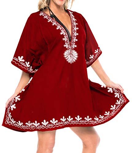 artistico super abito swimwear profondo di loungewear formato rayon bikini di lisce occultamento 1 bagno ricamato tunica top da vestito costume donne dello più collo spiaggia La base Rosso ca n683 4 Leela in del qtwA0O