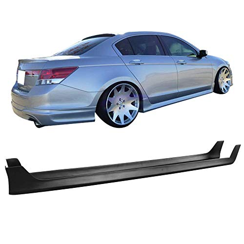 - IKON MOTORSPORTS Side Skirts Fits 2008-2012 Honda Accord Sedan | PP Black Side Extension