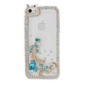 ZXM-Flor de mariposa DIY y Marco de cadena con el patrón de diamantes de imitación de plástico duro caso para iPhone 5/5S