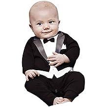 Newborn Baby Boy Romper Rompers Tuxedo All-in-one Suit Bowtie Bodysuit
