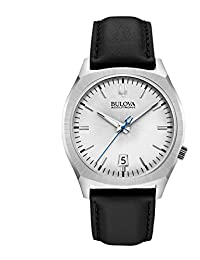 Bulova Accutron II Men's UHF Watch with Grey Dial Analogue Display and Black Leather Strap - 96B213
