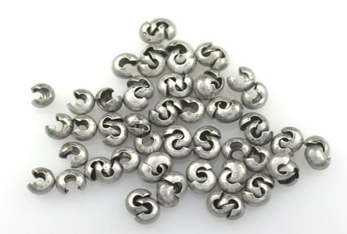 100 Antique Silver Crimp Tube Beads for Jewelry Making, Supply for DIY Beading Projects Covers 3MM
