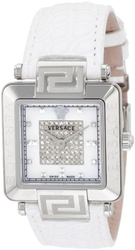 Versace Women's 88Q99SD97F S001 Reve Carrè Mother-Of-Pearl Genuine Alligator Band 69-Diamond Watch