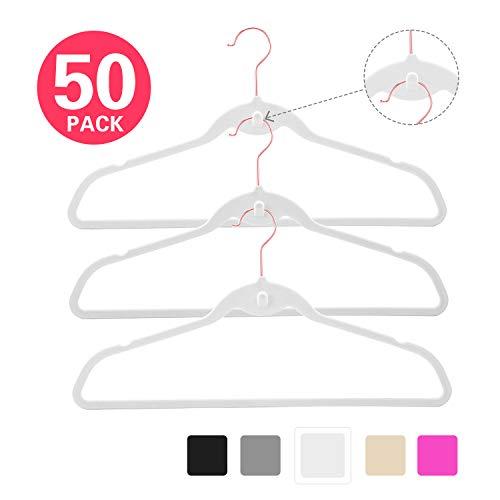 - MIZGI Premium Cascading Velvet Hangers (Pack of 50) Heavyduty - Non Slip Hangers with Cascading Hooks White - Copper/Rose Gold Hooks,Space Saving Clothes Hangers (White)