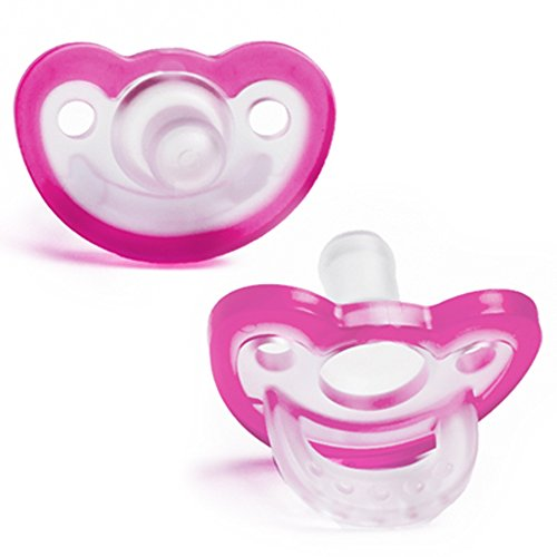 RaZbaby JollyPop Baby Pacifier Plus, 3m+, Pink, Double Pack ()
