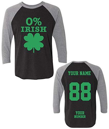 0% Irish Custom Jerseys St Patrick's Day T Shirts - Black Saint Pattys Baseball Raglans