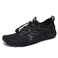 Ubfen Mens Womens Water Shoes Aqua Shoes Swim Shoes Beach Sports Quick Dry Barefoot For Boating Fishing Diving Surfing With Drainage Driving Yoga Size 6 5 Women 5 Men A Black