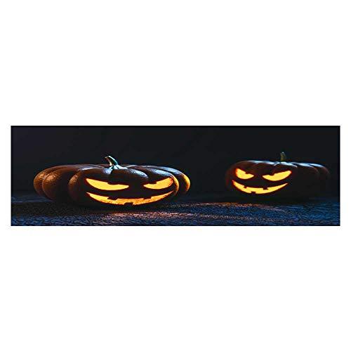 Leighhome Aquarium Background Halloween Pumpkin Lantern Wallpaper Fish Tank Backdrop Static Cling L23.6 x -